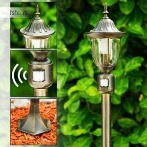 Hofstein Lampadaire extérieur Robadeo doté d'un détecteur de mouvement - Réverbère jardin pour une touche de décoration classique autour de la maison - Luminaire extérieur offrant un éclairage optimal