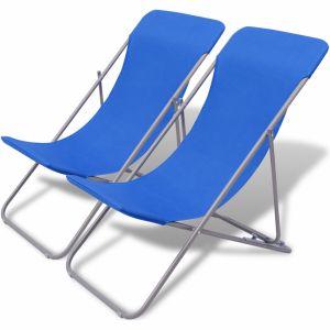VidaXL Chaise de plage pliable 2 pièces