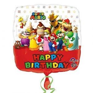 Ballon aluminium Happy Birthday Mario Bros 43 cm
