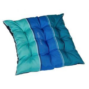 Jardin prive Galette de chaise futon J'ADORE 40x40x5 cm bleu