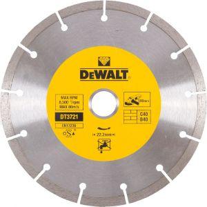 Dewalt Disques diamantés segmentés pour tronçonnage à sec/Diamètre:180 mm / Alésage:22.2 mm / Hauteur des segments:7 mm / Largeur des segments:2.1 mm / Quantité par emballage:1 / Quantité minimale de commande:1 DT3721