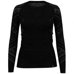 Odlo SUW Natural + Kinship Crew Neck LS Shirt Women, black melange XS Maillots de corps