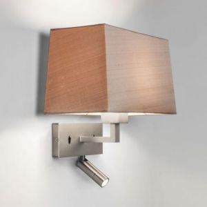 Astro Applique abat-jour rectangulaire Park Lane Reader LED - Interrupteur - Nickel