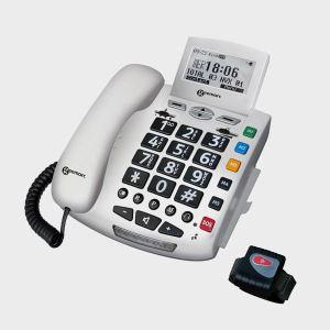 Geemarc Sérénities - Téléphone filaire avec bip alarme et bracelet d'alerte