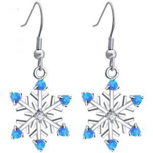 Blue Pearls Boucles Doreilles Pendantes À Crochets Femme Flocon De Neige En Plaqué Argent Et Opale Bleue Bps 0844 Y