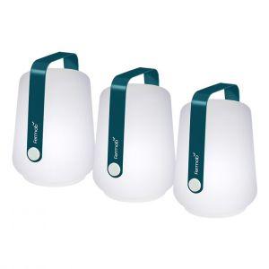Fermob Lot de 3 petites lampes balad bleues Ø 10 x 13,5 cm