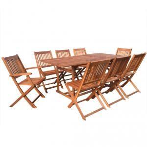 VidaXL Jeu de salle à manger à neuf pièces en bois d'acacia 180 cm