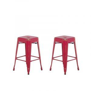 Beliani 2 tabourets de bar rouge doré de 60 cm CABRILLO