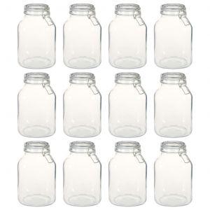 VidaXL Pots en verre avec serrure 12 pcs 3 L