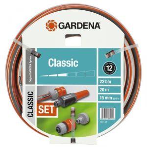 Gardena 18014-26 - Tuyau d'arrosage Classic Set Ø 15 mm 20 m avec lance et accessoires