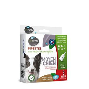 Biovetol Pipettes insectifuges chien moyen 3x4ml