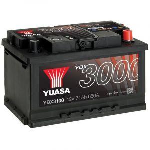 Yuasa SMF Batterie Auto 12V 71Ah 650A YBX3100 12V 71Ah 650A SMF Battery 278 x 175 x 190 mm + D