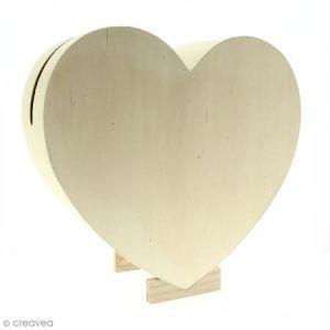 Artémio Urne Coeur en bois - 35 cm