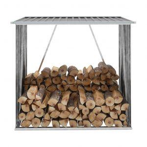 VidaXL Abri de stockage de bois Acier galvanisé 163x83x154 cm Gris