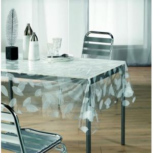 Feuilles Blanches - Nappe cristal rectangulaire (140 x 240 cm)