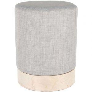 The home deco factory Pouf scandinave en tissu base bois 30 cm Gris clair