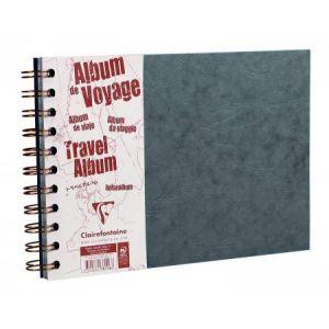 Clairefontaine 781065C - Album de Voyage Age Bag 297x210, 80p./40 feuilles 120 g/m² / 160 g/m² reliure intégrale, couv. coloris gris, ligné / uni