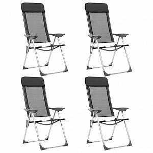 VidaXL Chaises pliables de camping 4 pcs Noir Aluminium