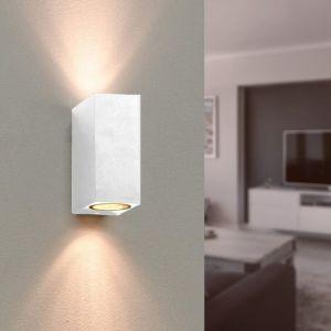Silamp Applique Murale Blanche LED Carrée IP44 double faisceau GU10