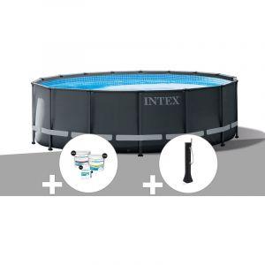 Intex Kit piscine tubulaire Ultra XTR Frame ronde 5,49 x 1,32 m + Kit de traitement au chlore + Douche solaire