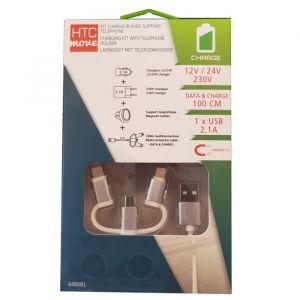 HTC Chargeur Allume-cigare + Chargeur 2,1 A + Câble 1 M + Support Magnétique