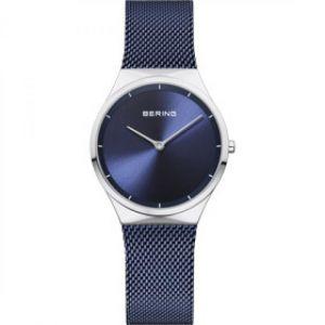 Bering Montre Classic 12131-307 - Montre Acier Bracelet Maille Milanaise Bleu Femme