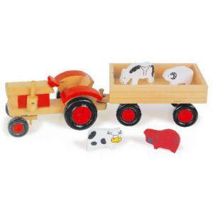 Legler Maguelone - Tracteur avec remorque et animaux en bois