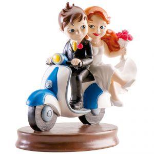 Couple mariage avec scooter (15 cm)