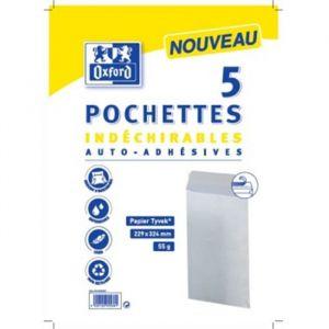 Oxford Paquet de 5 Pochettes indéchirables - 32,4 cm x 22,9 cm x 0,3 cm - 55g