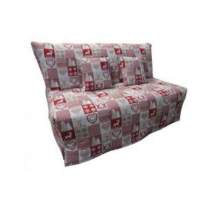 Inside75 Canapé BZ convertible FLO motifs cerfs rouge 160*200cm matelas confort BULTEX inclus