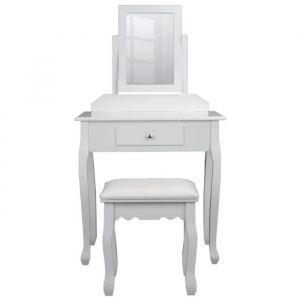 Coiffeuse classique en bois paulownia blanc + tabouret revetu de tissu blanc - L 71 cm - Bois paulownia blanc - L 71 x P 40 x H 127 cm - 1 miroir, 1 tiroir - 1 tabouret avec assise revêtue de tissu