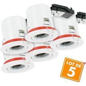 Eclairage design Lot de 5 Supports GU10 spot Orientable BBC D100 avec douille automatique