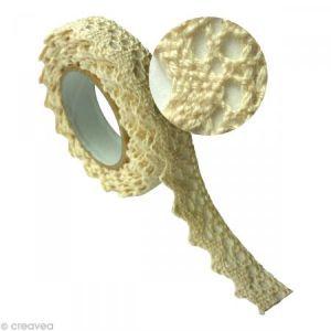 Graine Créative Ruban de tissu adhésif Dentelle écru 17 mm x 2,5 m