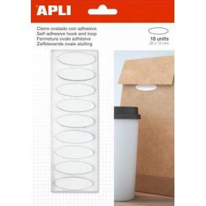 APLI 17413 - Lot de 18 pastilles auto-agrippantes type Velcro, adhésives, 35x12mm, blanc