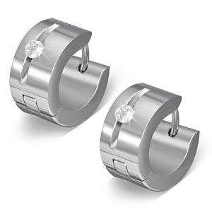 Zense ZE0021 - Boucles d'oreilles pour homme en acier et zirconium