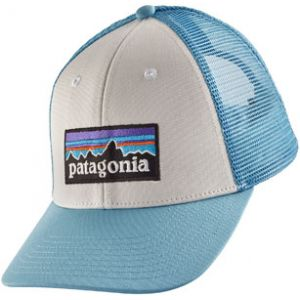 185fb41d90ab Patagonia P-6 Logo LoPro Trucker Hat White w/Break Up Blue Taille unique