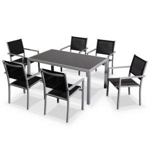 Alice's Garden Capua - Ensemble table de jardin et 6 fauteuils en aluminium et textilène