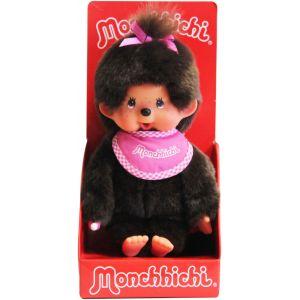 Bandai Peluche Monchhichi fille avec bavoir tout rose 20 cm
