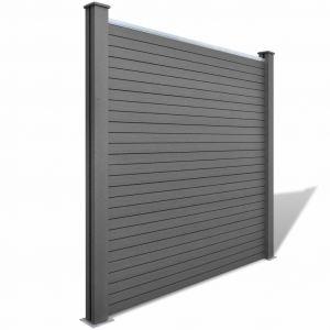 VidaXL Jeu de panneaux clôture 3 Carrés + 1 Incliné 638 cm WPC Gris