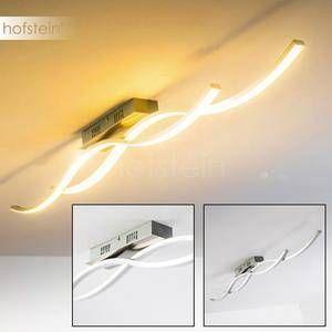 Hofstein Plafonnier LED Brindisi - Luminaire puissant et sobre - Suspension couleur acier brossé pour salon, salle à manger et cuisine