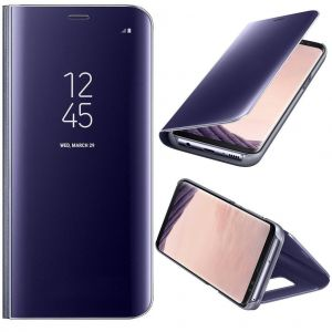 Coque Etui Housse Pour Samsung Galaxy S8 Case + Film De Protection Souple Clear View Etui À Rabat Cover Flip Case Miroir Antichoc Téléphone Portable Samsung Violet