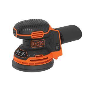 Black & Decker BDCROS18N-XJ Ponceuse excentrique 18 V avec bac à poussière pour ponceuse/polisseuse multi-position ergonomique Livré sans batterie ni chargeur 72 W 18 V Noir Orange