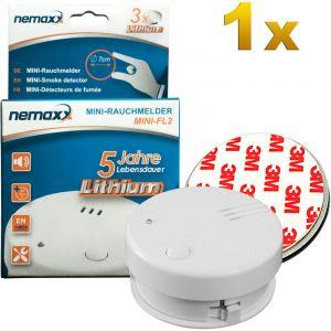 Nemaxx 1x détecteur de fumée Mini-FL2 - mini-détecteur discret et de haute qualité Alarme de fumée avec batterie au lithium - selon la norme DIN EN 14604 + 1x kit magnétique