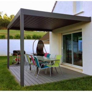 Pergola aluminium motorisée bioclimatique Cocoon LED 4x4,56 m grise