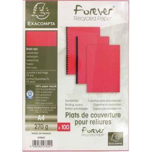 Exacompta 2782C - Paquet de 100 plats FOREVER, carte 270 g/m², grain cuir, coloris rouge