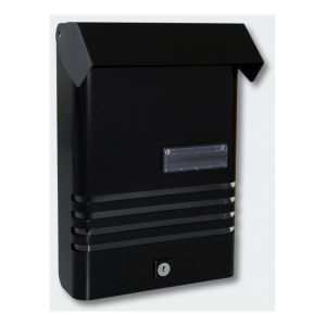 Boîte aux lettres murale noire design en aluminium avec fenêtre porte-nom 1016003