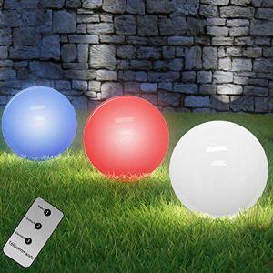 Deuba Boules Solaire LED avec changement de couleurs + télécommande %u2013 Ø 20 cm/30 cm %u2013 4 LED puissant Ø 30cm