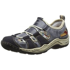 Rieker L0561, Sneakers Basses Femme, Bleu (Navy/Atlantic/kornblume/Beige), 40 EU