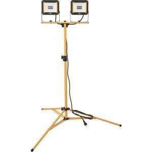 Brennenstuhl JARO 6000 T Lot de 2 spots LED avec trépied pour extérieur (IP65) 2 x 30 W avec support de câble et écrous de serrage de tube 2,5 m réglable en hauteur jusqu'à 160 cm