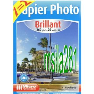 Micro application 20 feuilles de papier photo Brillant 260g/m² (A4)